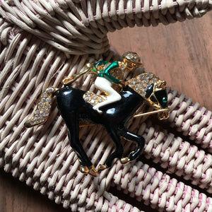 Vintage Rhinestone Brooch Jockey & Horse